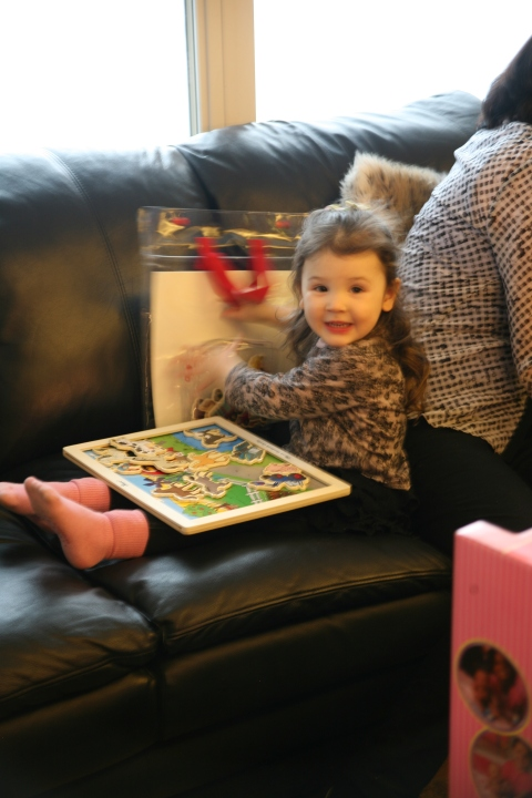 my sweet niece testing out one of the gifts